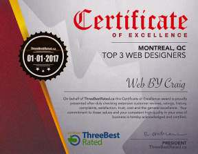 Top 3 Web Designers - Certificate of Excellence