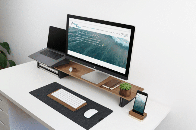 Donia Becker Life Coaching website on iMac and iPhone 8 screens